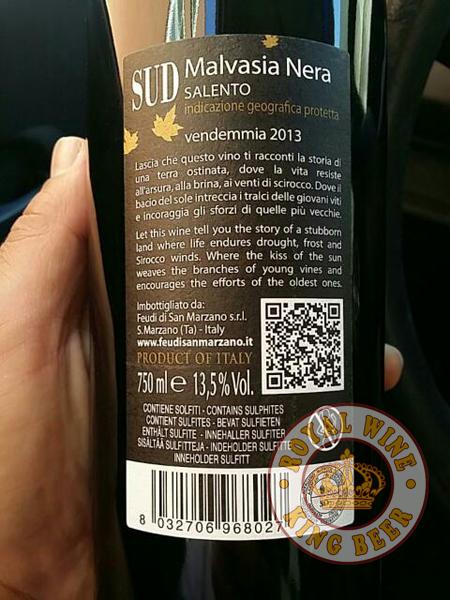 Rượu vang Ý SUD Malvasia Nera Salento