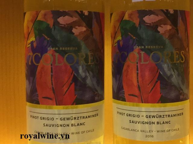 Rượu vang 7Colores Pinot Grigio Gewurztraminer Sauvignon Blanc Gran Reserva